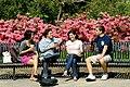 Students enjoy a study break on a park bench, New Orleans 2011.jpg