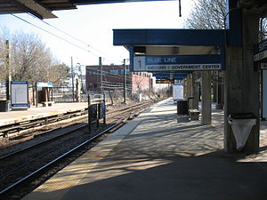 Suffolk Downs (MBTA station) - The inbound platform at Suffolk Downs in 2011
