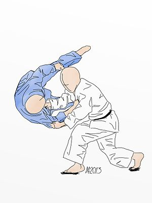 Sumi otoshi - Illustration of Sumi otoshi Judo throw