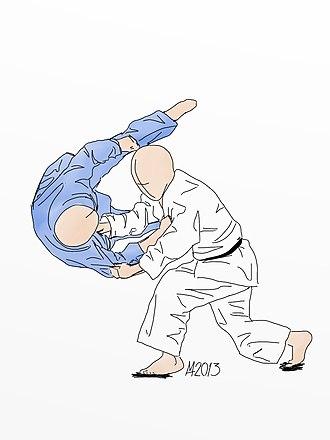 Sumi otoshi - Illustration of Sumi otoshi Judo throw