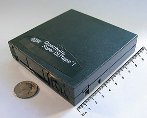 Computer data storage - 160 GB SDLT tape cartridge, an example of off-line storage. When used within a robotic tape library, it is classified as tertiary storage instead.