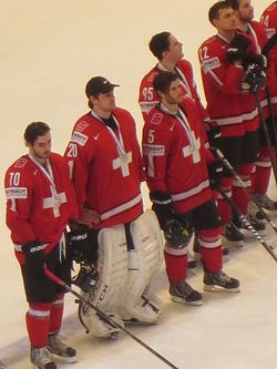 Swiss players after the 2013 IIHF World Championship Final.JPG