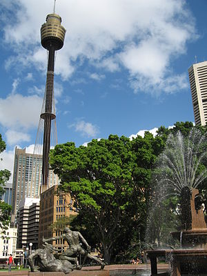 Archibald Fountain - The Fountain, with Sydney Tower in the background