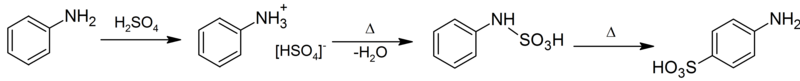 Synthetic route of sulfanilic acid from aniline.png