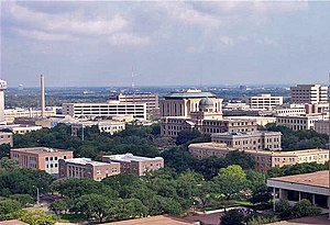 Texas A&M University - A view of the main campus, looking north from Kyle Field. At the center is the Academic Building with its copper dome.