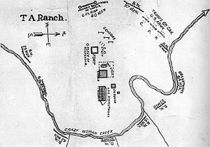 Johnson County War - A map of the TA Ranch during the Johnson County War, depicting the positions of the Invaders, the posse, and the 6th Cavalry