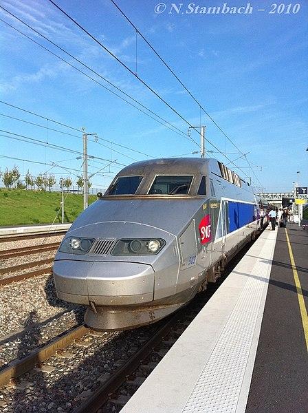 A TGV Reseau trainset stopped at Gare de Champagne-Ardenne TGV.