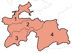 1为索格特区、2为国家直辖区、3为哈特隆区、4为戈尔诺-巴达赫尚自治州。