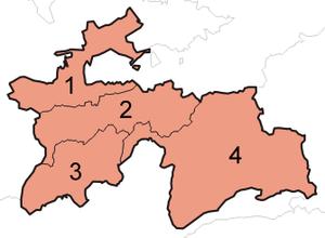 Klakebla mapo de Taĝikio ekspozicianta ĝiajn kvar provincojn.