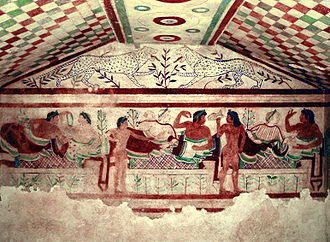 Tarquinia - A fresco in the Etruscan Tomb of the Leopards.