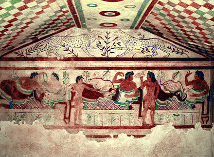 Etruscan Civilization fresco from the Tomb of the Leopards Tarquinia Tomb of the Leopards.jpg