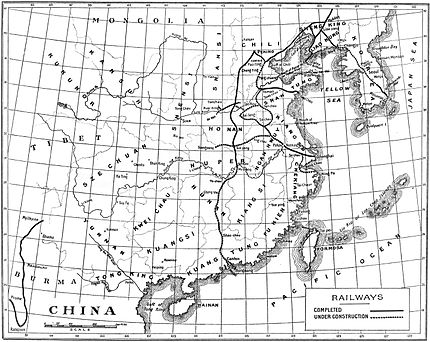 Railway Map of China (completed and under construction; circa 1908)