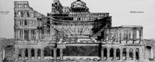Immagine di come si presentava il teatro, con in cima a colle San Pietro il tempio.