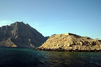 Khasab - Telegraph Island. Dow tours from Khasab take visitors to these remains of the former British telegraph station.