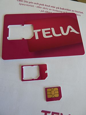 English: A micro-SIM from Telia in Sweden. Sho...