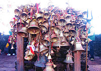 Bells offered by devotees at Pathibhara temple.