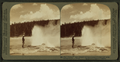 The 'Black Warrior' Geyser waving a banner of steam spray, Yellowstone Park, U.S.A, by Underwood & Underwood 3.png