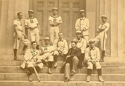 The 1879 Brown baseball varsity, with W.E. White seated second from right; White's appearance in an 1879 major league game, the first for an African American, came 68 years before Jackie Robinson permanently broke the baseball color line The 1879 Brown University Baseball Team.jpg