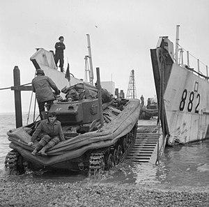 DD tank - A Valentine DD tank being loaded onto a landing craft prior to a training exercise, Stokes Bay, Hampshire, January 1944