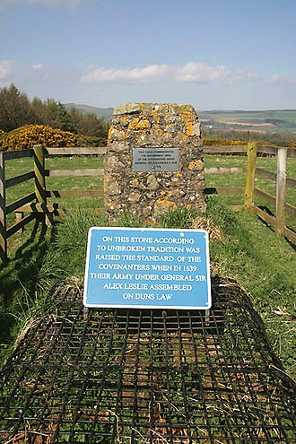 Duns - Stone Memorial to Leslie's army on Duns law