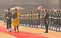 The King of Bhutan, His Majesty Jigme Khesar Namgyel Wangchuck inspecting the Guard of Honour, at the Ceremonial Reception, at Rashtrapati Bhavan, in New Delhi on January 25, 2013.jpg