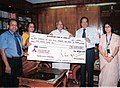The Managing Director, RITES a public sector undertaking under the Ministry of Railways, Shri V.K. Agarwal presenting a dividend cheque of Rs. 40 crores to the Union Minister for Railways, Shri Lalu Prasad, in New Delhi.jpg