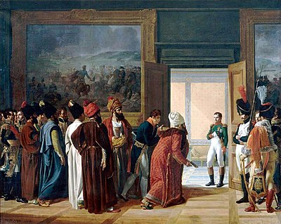 The Iranian Envoy Mirza Mohammed Reza-Qazvini meeting with Napoleon I at the Finckenstein Palace, 27 April 1807, to sign the Treaty of Finckenstein. The Persian Envoy Mirza Mohammed Reza Qazvini Finkenstein Castle 27 Avril 1807 by Francois Mulard.jpg