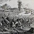 The Phillip Medhurst Picture Torah 387. The Egyptians drowned in the Red Sea. Exodus cap 14 vv 27-28. Schellenberg.jpg