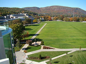 The Plain (West Point) - The Plain at West Point as viewed from the balcony of Jefferson Library, with Eisenhower statue and Diagonal Walk in foreground.