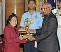 The President, Shri Ram Nath Kovind presenting the Arjuna Award, 2017 to Ms. Oinam Bembem Devi for Football, in a glittering ceremony, at Rashtrapati Bhavan, in New Delhi on August 29, 2017.jpg