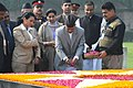 The President of Nepal, Dr. Ram Baran Yadav paying floral tributes at the Samadhi of Mahatma Gandhi, at Rajghat, in Delhi on February 16, 2010.jpg