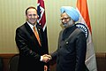 The Prime Minister, Dr. Manmohan Singh meeting the Prime Minister of New Zealand, Mr. John Phillip Key, on the sidelines of CHOGM 2009, in Port of Spain on November 28, 2009.jpg