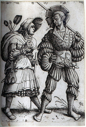 Etching - The Soldier and his Wife. Etching by Daniel Hopfer, who is believed to have been the first to apply the technique to printmaking