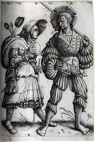 Etching - The Soldier and his Wife. Etching by Daniel Hopfer, who is believed to have been the first to apply the technique to printmaking.