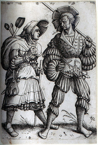 The Soldier and his Wife. Etching by Daniel Hopfer, who is believed to have been the first to apply the technique to printmaking. The Soldier and his Wife.jpg