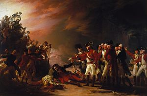 Anglo-French War (1778–1783) - The Sortie made by the Garrison of Gibraltar in the Morning of the 27 of November 1781 by John Trumbull, depicting a British attack that occurred during the Great Siege of Gibraltar