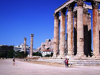 Greco-Roman world - The Temple of Olympian Zeus in Athens, construction started by Athenian tyrants in 6th century BC and completed by Roman emperor Hadrian in 2nd century AD.