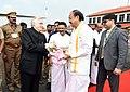 The Vice President, Shri M. Venkaiah Naidu being bid farewell by the Governor of Kerala, Shri P. Sathasivam, on his departure, in Kochi, Kerala on November 22, 2017.jpg
