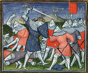 Military art - The Battle of Poitiers in 1356, in a manuscript of Froissart's Chronicles of c. 1410