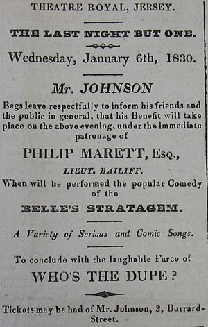 The Belle's Stratagem - Advertisement for a performance of The Belle's Stratagem in Jersey on 6 January 1830