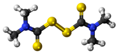 Ball-and-stick model of the thiram molecule
