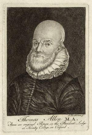 Thomas Allen (mathematician) - Thomas Allen, 18th-century engraving by James Bretherton.