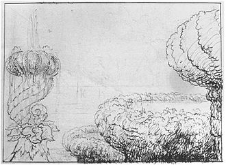 The Titan's Goblet - A fantastical sketch of a fountain and basins by Cole, c. 1832–33