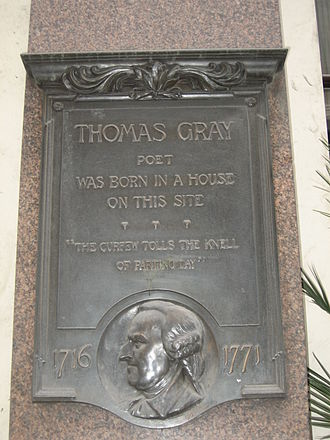 1716 in poetry - Monument marking birthplace of Thomas Gray