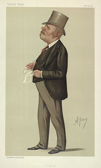 """Thomas Sutherland (banker) - 1887 Caricature of Mr. T Sutherland MP. Caption reads: """"P and O"""". Published in Vanity Fair 22 October 1887."""