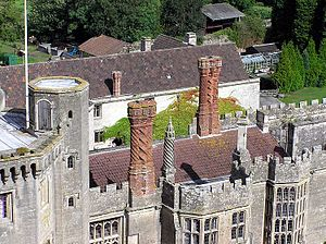 Thornbury Castle - Detail of Castle chimneys
