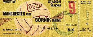 1970–71 European Cup Winners' Cup - Image: Ticket Manchester City Górnik Zabrze