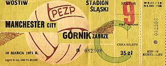 Górnik Zabrze - Ticket to a match against Manchester City in the 1970–71 European Cup Winners' Cup