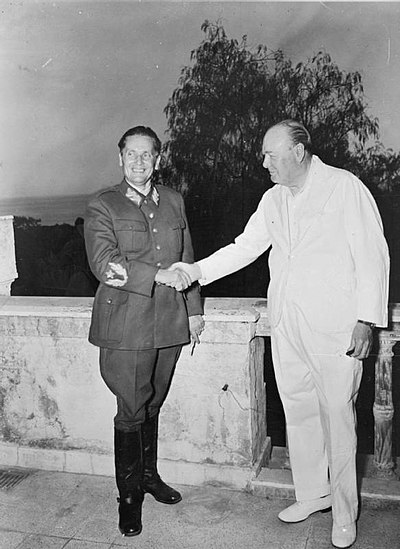 Josip Broz Tito and Winston Churchill in 1944 in Naples, Italy Tito-Churchill.jpg
