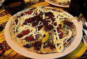 Tostada (tortilla) - An Oaxacan tlayuda